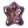 Glass Bead Flower 12x14mm Green Metal Effect - Strung